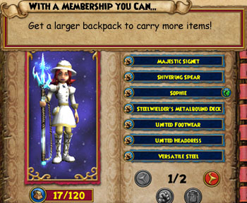 With a Wizard101 membership, you get a bigger backpack to carry more items