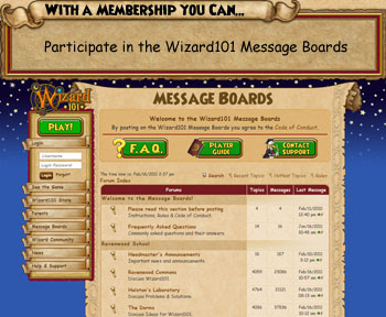 Participate in the Wizard101 message boards with a Wizard101 membership