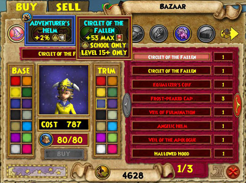 Wizard101 Bazaar Interface