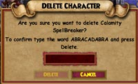 Wizard101 Delete Character