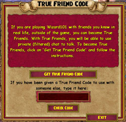 Wizard101 True Friend Code